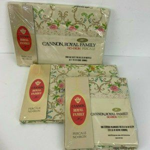 Vtg 1970's Cannon Royal Family Percale Sheets Twin